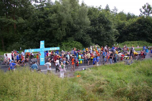 Tour de Natur 2008 - Kundgebung am geplanten Autobahnkreuz A4/A49